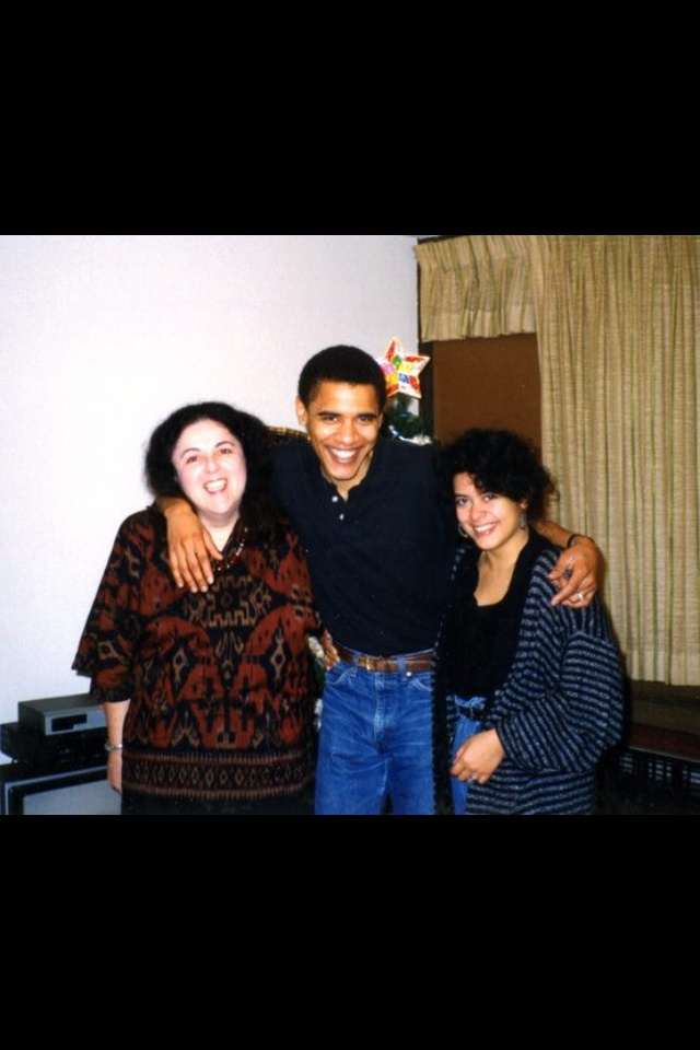 Barack Obama with his mother and sister
