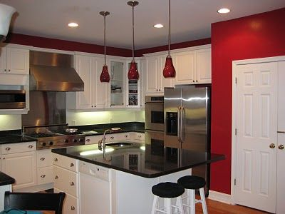 White Backsplash W White Cabinets White Cabinets Red