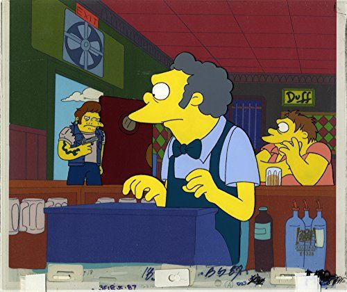Original Moe and Snake art from The Simpsons cartoon - one of a kind Animation Artwork Production Cel