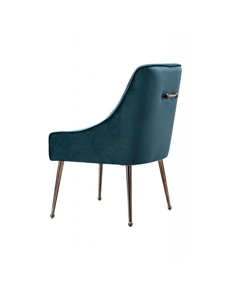 Blue velvet chair with stainless steel legs and handle