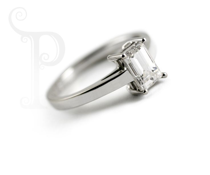 Handmade 18ct White Gold Solitaire Engagement Ring, Set With a Baguette Cut Diamond