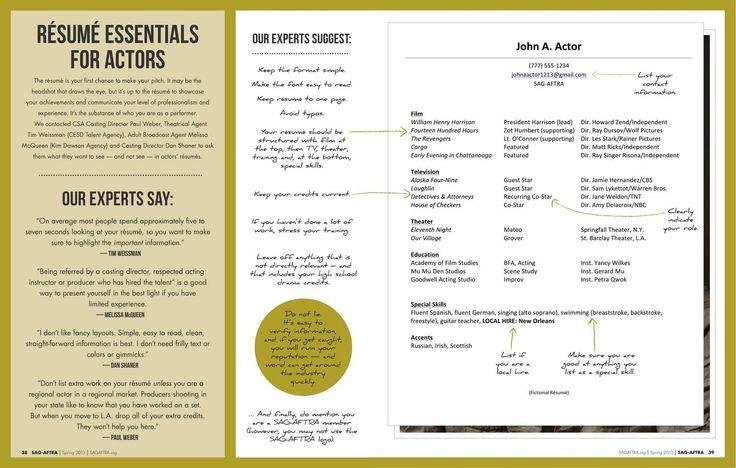 Resume basics from SAG-AFTRA