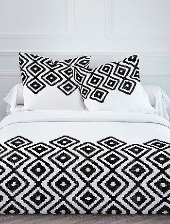 Parure de lit imprimé éthnique                                                                     blanc/noir Linge de lit