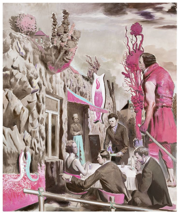 "Four paintings by Neo Rauch. Pictured: Der Felsenwirt, 2014, oil on canvas, 118 1/8"" x 98 1/2"". Courtesy Galerie EIGEN + ART Leipzig/Berlin and David Zwirner, New York/London."