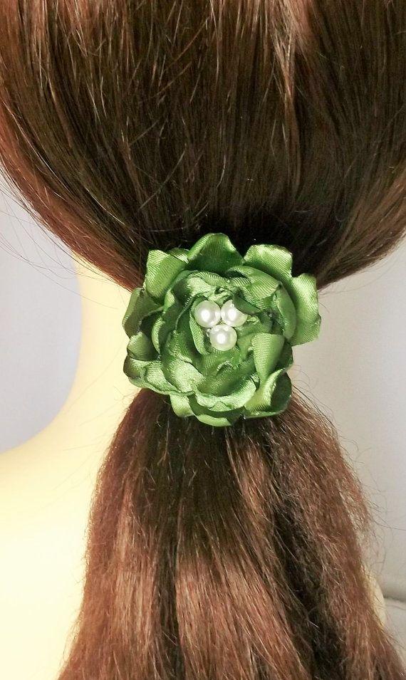 Flower Hair Clip Green Flower Green Headpiece by fabtasticflowers