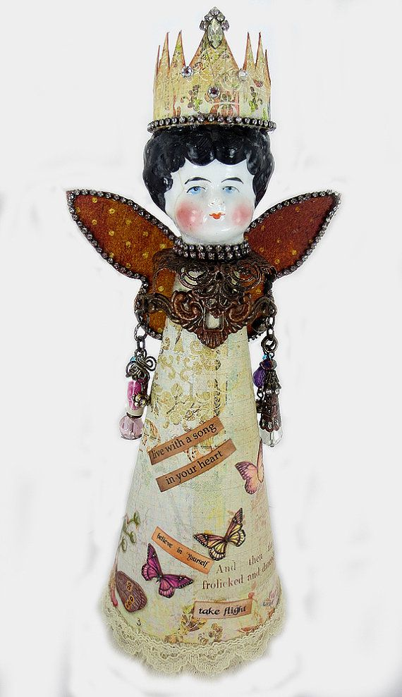 #Assemblage Art Doll Frozen Charolett Altered Art by eclecticmoon, $65.00