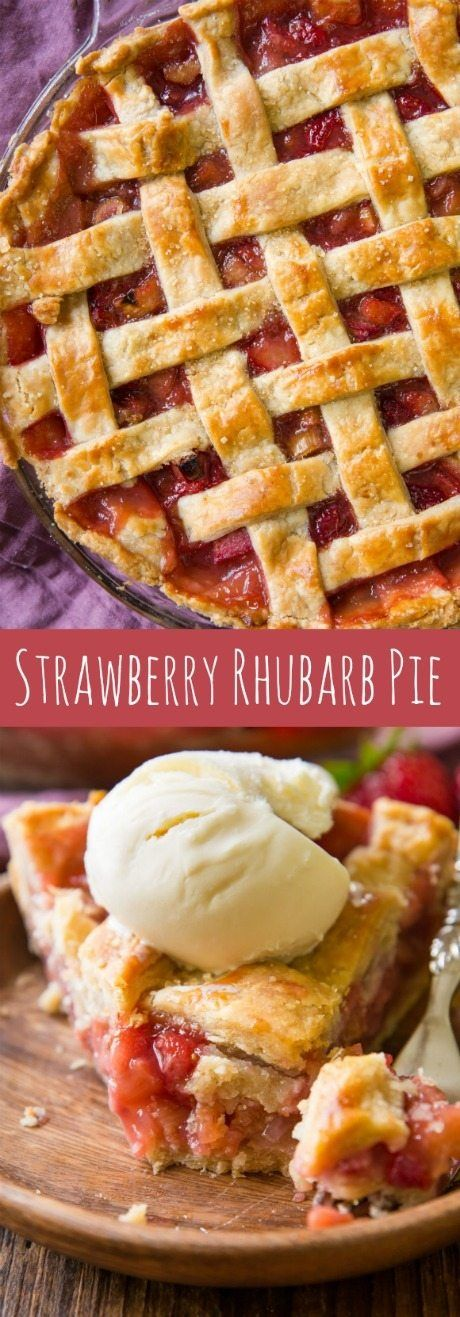 My new favorite strawberry rhubarb pie! The filling holds together nicely and the homemade pie crust is phenomenal! Recipe on sallysbakingaddiction.com