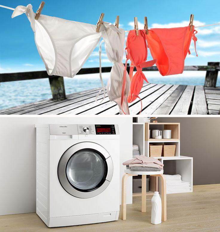 Mit dem schonenden Öko-Mix System wäschst du deine  schönsten Badekleider bedenkenlos.  Tipp: Wäschesack und Feinwasch-Programm verwenden.
