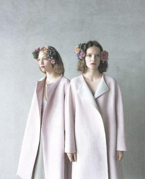 Models in Jil Sander coats for Hanatsubaki Japan, November 2012