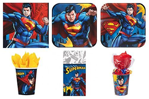 Superman Party Supplies Standard Kit for 16 Free Gift @ niftywarehouse.com #NiftyWarehouse #Superman #DC #Comics #ComicBooks