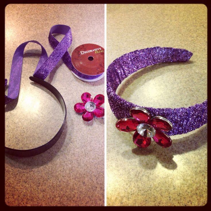 Cute sparkly ribbon a regular headband and a super cute jewel flower, all from hobby lobby