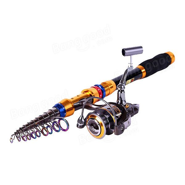 ZANLURE Carbon Telescopic Fishing Rod and Reel Combos Travel Spinning Fishing Pole Sets Sale - Banggood.com