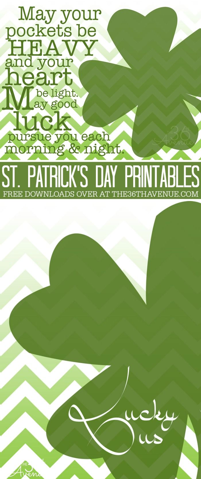 St. Patrick's Day Free Printables at the36thavenue.com Pin it now and print them later!