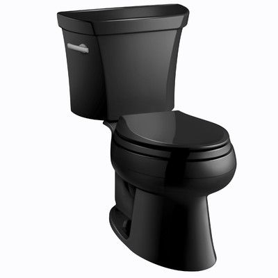 Kohler Wellworth Two-Piece Elongated 1.6 GPF Toilet with Class Five Flush Technology, Left-Hand Trip Lever and Tank Cover Locks Finish: Black Black