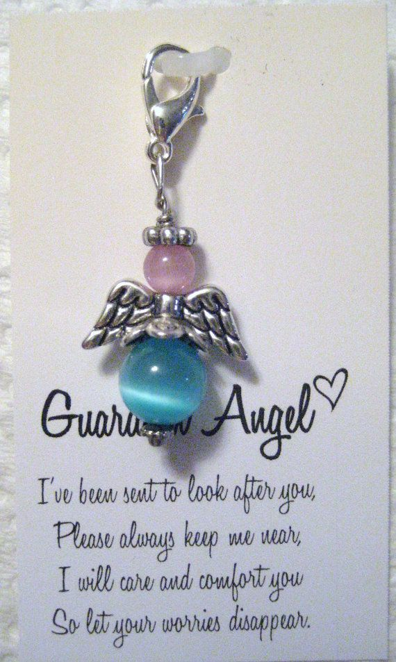 Pink And Turquoise Guardian Angel Keychain by mycreativeclutter