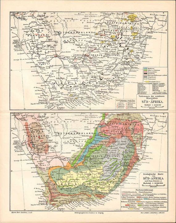 1897 South Africa geological maps Antique by KuriosartAntique