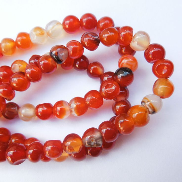 16in strand 6mm Red Agate Round Gemstone Jewellery Making Beads #Unbranded