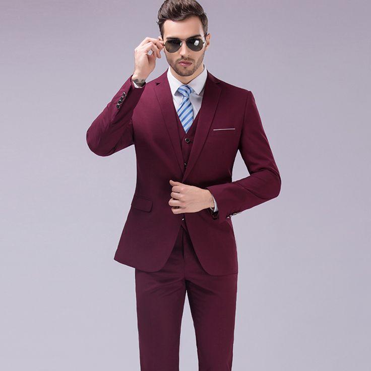 Plus Size 5XL 2016 Famous Brand Mens Suits Wedding Groom 3 Pieces(Jacket+Vest+Pant) Slim Fit Tuxedo Suit Male //Price: $89.38 & FREE Shipping //     #hashtag1