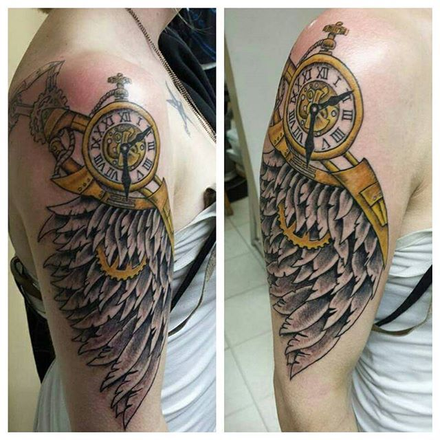 Tattoo Clock Wing Chest: 20 Best Angel Wing Tattoo Images On Pinterest