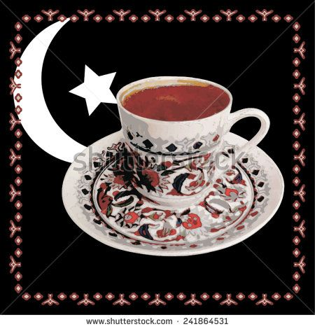 Vector, illustration of Turkish coffee on black background with ornaments - stock vector #shutterstock #vector #illustration #turkish #coffee #texture #istanbul #turkey #traditional