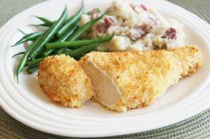 Essayez nos succulentes poitrines de poulet au four: un poulet croustillant sans friture! Le parmesan ajoute une touche italienne à la chapelure, et le fromage à la crème rend le poulet très tendre.