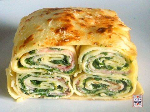 Terrina di crespelle, una bella ricetta della domenica, quasi un piatto unico.Si farcisce con spinaci o bietoline, ricotta, prosciutto cotto e parmigiano.