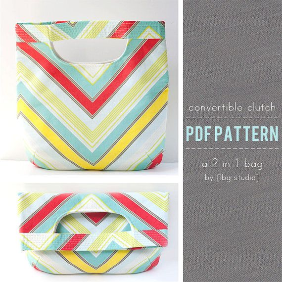 Convertible Clutch / Tote 2 in 1 Fold Over Bag PDF Sewing Pattern  This pdf sewing pattern is fairly quick to put together and doesnt use up a whole