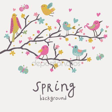 Lente achtergrond. stijlvolle illustratie in vector. cute vogels op takken. lichte romantische kaart. kan worden gebruikt voor bruiloft uitnodiging — Stockvector