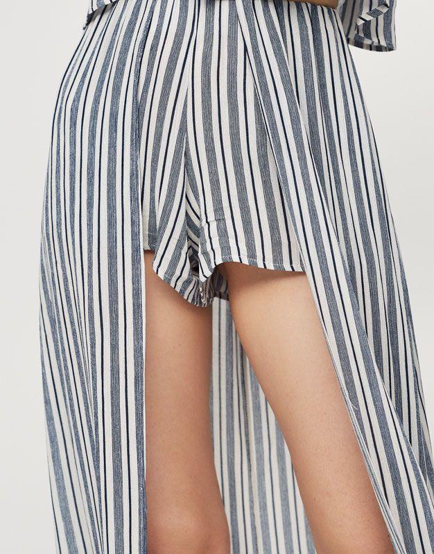 Gonna pantalone a righe - Gonne - Abbigliamento - Donna - PULL&BEAR Italia