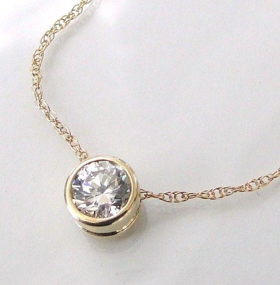 Diamond Solitaire Necklace, $159