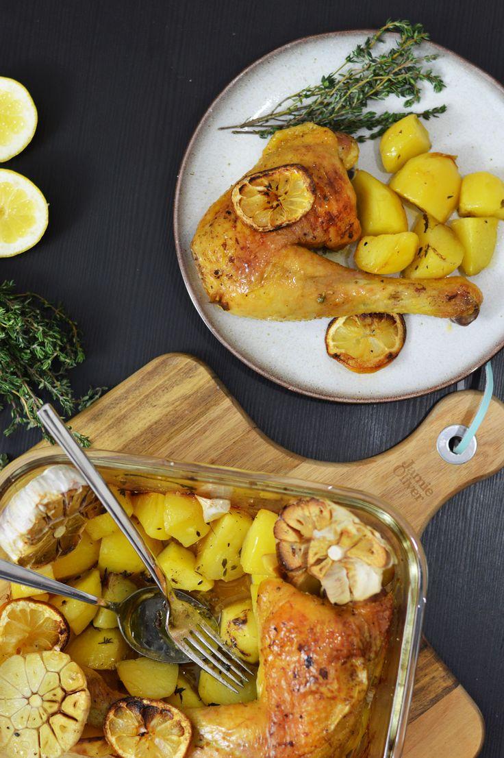 Rezept für Zitronen-Knoblauch-Hähnchen mit Kartoffeln | www.dearlicious.com