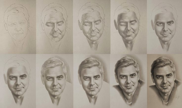 Celebrity Pencil Portraits - George Clooney (Step-by-step)