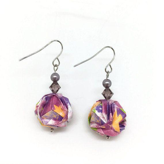 Origami boucles d'oreilles - Boucles d'oreilles papier - 1er anniversaire cadeau - June Birthstone - WC07 - brocart japonais