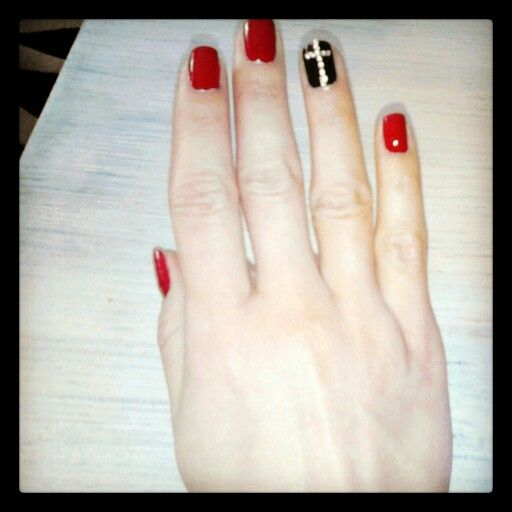 Nails nail art red and black rock nails