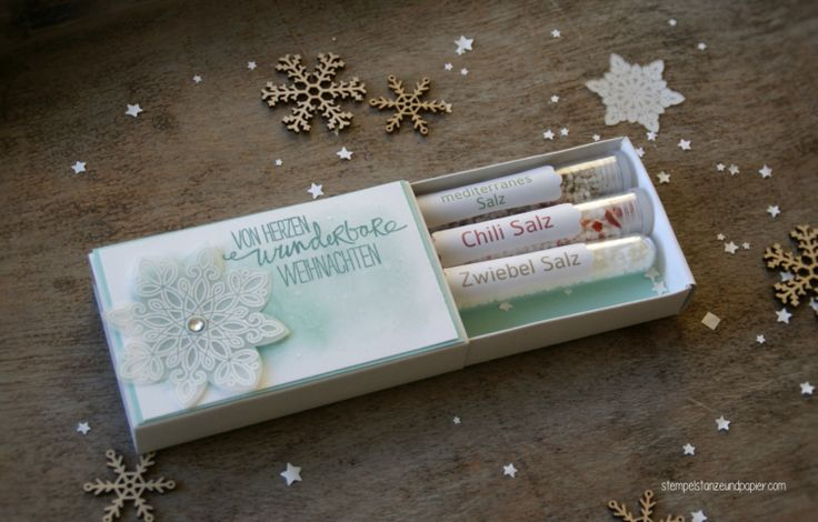 Schubladenschachtel - Verpackung - Reagenzglas - Kräutersalz - Geschenke aus der Küche - Weihnachten - Flockenzauber - Stampin' Up!