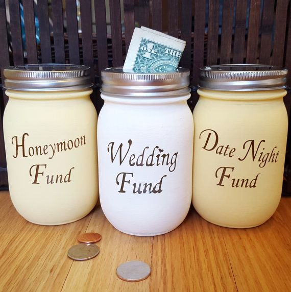 Wedding fund Honeymoon fund Mason jars Engagement by OurYardley
