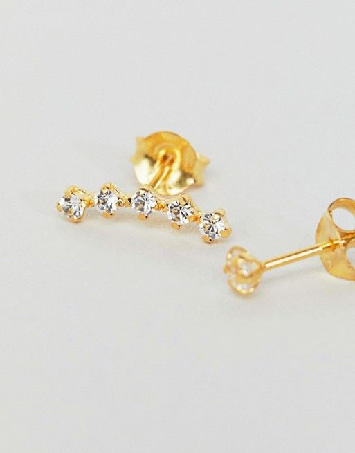 758353accf06 Kingsley Ryan | Kingsley Ryan Gold Plated Rhinestone Climber and Stud  Earrings Set in Gold