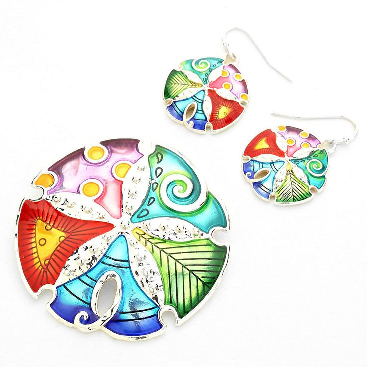 Multi-Color Lacquered Swirly Sand Dollar Pendant Necklace Set
