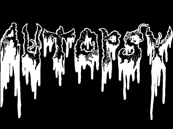 The Beauty and Total Illegibility of Extreme Metal Logos | Autopsy's death metal logo reeks of gore with its mucus-dripping lettering.  | Credit: Mark Riddick/Logos From Hell | From Wired.com