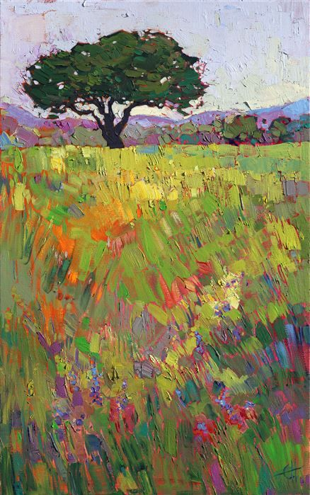 California oak tree in wine country landscape, by modern impressionist Erin Hanson