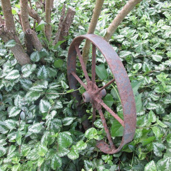 Vintage Iron Wheelbarrow Wheel  Rusty Iron Wheel  by SimplySuzula