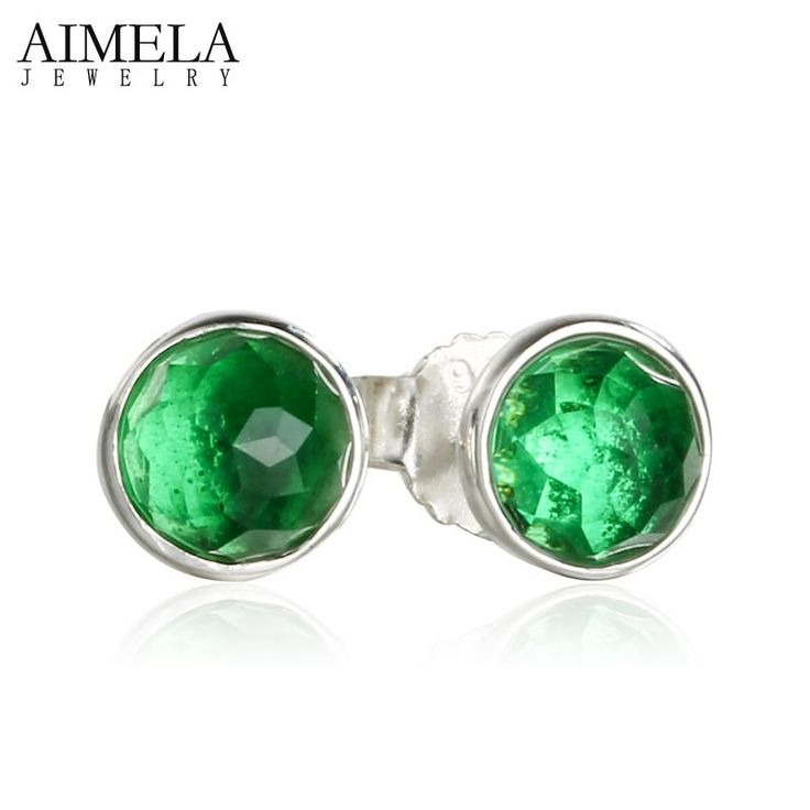AIMELA May Green Birthstone Stud Earrings For Women Authentic 925 Sterling-Silver-Jewelry May Droplets Earrings Birthday Gift