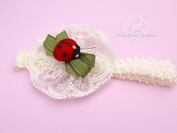 Ladybug hair band 0 baby photoshoot Lace by MintBunnyCreations