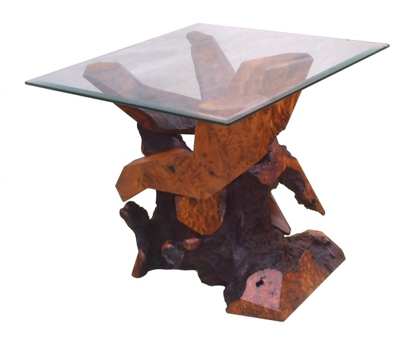 Contemporary Redwood Glass Top Accent Table By Daryl Stokes.
