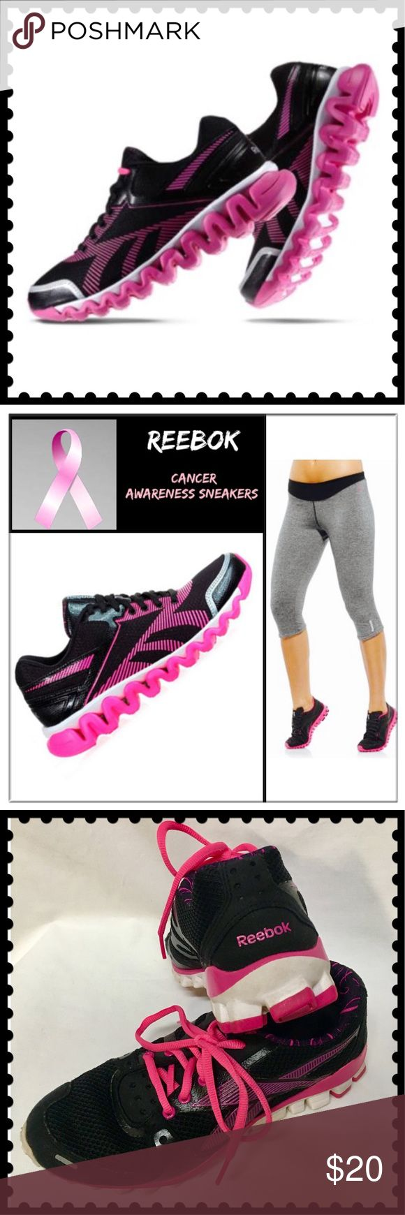 """🆕REEBOK Cancer Awareness Pink ribbon running 👟👟 REEBOK Cancer Awareness Pink ribbon running shoes with """"Get your Pink on"""" stamped inside. Black with pink cancer awareness ribbons & white reflective areas in front & back. Sz 7.5 in EUC. Only wear is lettering on insoles is slightly faded/worn off & they are freshly washed with new pink ties. Excellent lightweight running shoe. All photos are actual shoes except for cover & 2nd with model. Reasonable offers welcome. A portion of this sale…"""