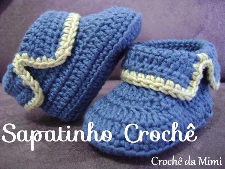 Passo a passo do sapatinho de crochê para bebê. Step by step crochet baby bootie Blog: http://www.crochedamimi.blogspot.com.br Facebook: http://www.facebook....