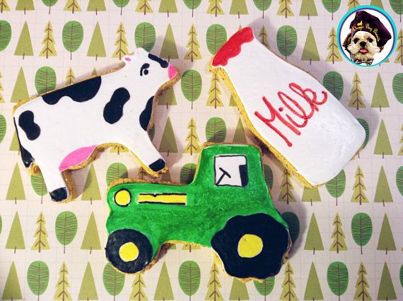 Down On the Farm Cookie Collection.Dairy Cow,Tractor,Milk Bottle.NOW GRAIN & Wheat-Free, flooded with our Sugar-Free Vanilla Dog Icing! Gift Box Option.We'll donate $5 when you place an Order.