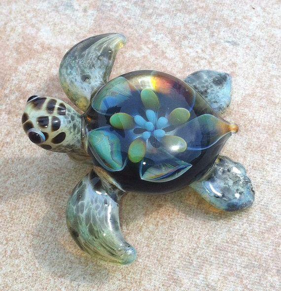 Baby sea turtle necklace glass beads pendant by RyanJesseeglass
