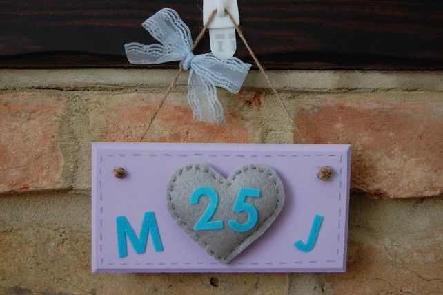 Handmade Anniversary Sign with Felt Heart any initials, number personalised £7.99