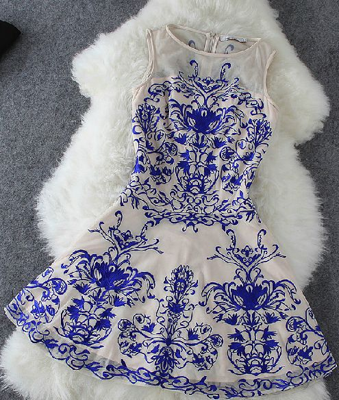 Porcelain lace white and blue dress.